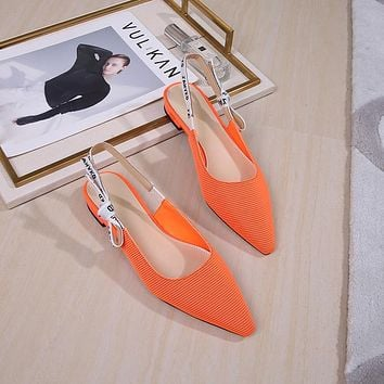 Fashion Patent Point Toe Summer Slingback Sandals Low Heel Shoes
