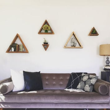 Triangle Shelves- Set of 5, Wooden Shelf, Modern Decor, Floating Shelf, Triangle, Home Decor, Nursery Decor, Geometric Shelf