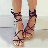 Brand designer Faux Leather Strappy Roman Goth Gladiator Thong Lace Up Bandage Sandals knee high boots Flat Shoes Free shipping