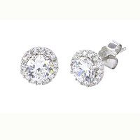 Sterling Silver Micropave Stud Earrings 7mm Super Bright White CZ Pave Border