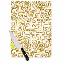 """Anneline Sophia """"Squiggles in Gold"""" Yellow White Cutting Board"""