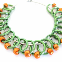Extra Small Sock stitch markers | Knit stitch marker | Stitchmarkers for socks | Knitting tool | green rings; orange beads | #0549