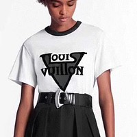LV Louis Vuitton Fashion Women Men Casual Print Short Sleeve T-Shirt Top