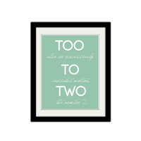 "Too, to, two. Grammar Poster. Teacher, classroom, kids poster. Simple and Modern. Typography. Gift Idea. 8.5x11"" Print."