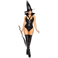 Sexy Coven Witch Black Sequin Romper Halloween Costume