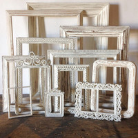 Antique White Picture Frame Set Of 12 Shabby Chic Wall Decor
