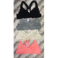 Racerback Lace Bralette: Multiple Colors