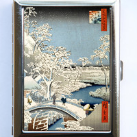 Japanese Woodblock Snow Cigarette Case Wallet Business Card Holder  tattoo woodblock