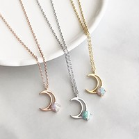 Crescent moon opal necklace
