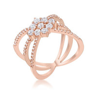 Mindy 0.8ct Cz Rose Gold Delicate Triple Wrap Ring, size : 10