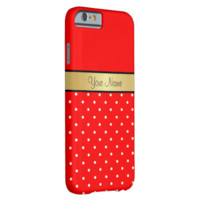Gold Monogram Chic Strawberry Red White Polka Dots Barely There iPhone 6 Case