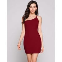One Shoulder Backless Solid Sexy Bodycon Dress JARFF