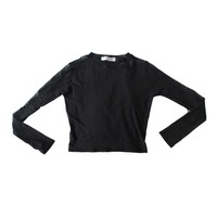 Mesh Crew Neck Long Sleeve Crop