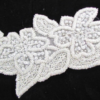 """Flower with White Iridescent Sequins and Beads  5"""" x 12"""""""