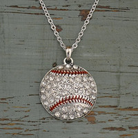 BASEBALL Necklace is Embellished with Clear Crystal Rhinesttones & arrives on 18 inch Chain.Gift Boxed.Show your Pride in your Loved One's Sport