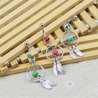 Fashion Sexy Piercing Jewelry Silver Plated Leaf Shaped Long Dangle Navel Belly Button Ring For Women 2015