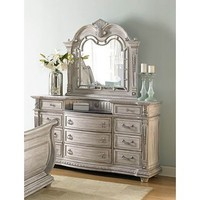 Homelegance Palace II Dresser With Marble Inset In Antique White Wash