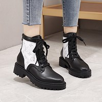 lv louis vuitton trending womens men leather side zip lace up ankle boots shoes high boots 113