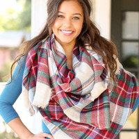 Blanket Scarf - Beige, Red and Green