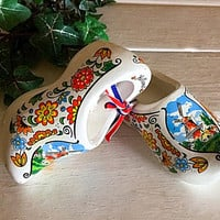 Wood Dutch Shoes, Holland Shoes, Hand Painted Shoe, Vintage Wood Shoe, Holland Wood Shoes, Windmill Shoes, Wood Shoe, Holland Souvenir