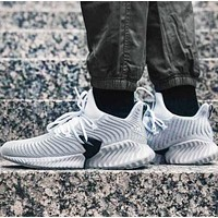 Adidas Alphabounce Fashion New Sports Leisure Running Shoes Gray