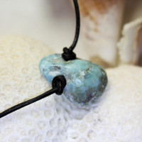 Unisex River Larimar Turquoise Pendant Necklace choker natural rustic chip rock blue bohemian beach stone drilled bead men