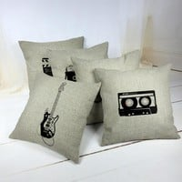 Vintage Simple Cotton Linen Pillowcase Cover Chair Waist and Seat Square Camera Guitar Motorcycle Cushion Cover Home Decorative