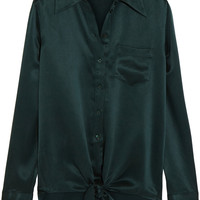 Equipment - Luis tie-front silk-charmeuse shirt