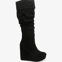 FOREVER 21 Scrunched Wedge Boots Taupe 10