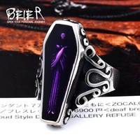 BEIER Undertaker Skull Fashion Cool Vampire Diaries Ring Stainless Steel With Purple colour Movie Punk Jewelry For Man BR8-501