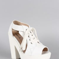 Qupid Leatherette Cutout Lace Up Platform Heel
