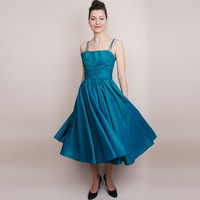 1950s Dress - Vintage 50s Party Dress - Teal Sharkskin Shimmer - XS / S