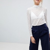 Fashion Union Tall High Neck Top In All Over Lace at asos.com