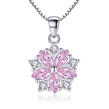 Cherry Blossoms Cubic Zirconia 14K White Gold Plated Necklace for Women