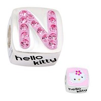 Expressions for Helzberg® Pink Crystal Hello Kitty N Initial Bead in Sterling Silver - View All - New Arrivals - Jewelry - Helzberg Diamonds