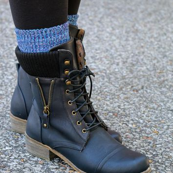 From Great Heights Black Lace Up Combat Boot With Sweater Detail