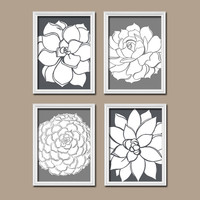 Charcoal Gray Dahlia Floral Flower Flourish Design Artwork Set of 4 Prints Organic Bloom Bathroom Bedroom Wall Decor Art Pictures