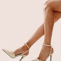 Point Toe Studded Decor Stiletto Heels