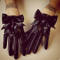 Lady Lucie Latex big bow gloves (black with a choice of bow colour)