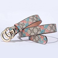 GUCCI New fashion more letter print leather couple belt