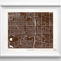 Aurora Map, Colorado Print, Aurora Poster, Colorado Art, Office Decor, Artwork Sale, Dorm Decor, Home Decor, Halloween Decor
