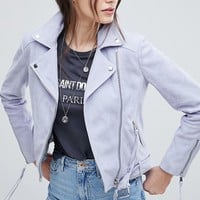 Lab Suede Biker Jacket with Belt at asos.com