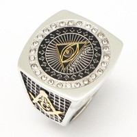Eye of Horus Pyramid Freemason Silver Gold Masonic Ring