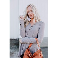 Jeannette Waffle Knit Top - Taupe