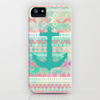 Sailing Aztec | Emerald Nautical Anchor Pastel Watercolor Aztec iPhone & iPod Case by Girly Trend