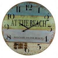 """Wooden At The Beach Wall Clock 23"""""""