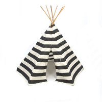 Teepee Play Tent round wood poles included black and natural wide stripe- 6 panel