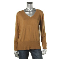 JM Collection Womens Long Sleeves V-Neck Pullover Sweater
