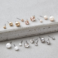 AEO Crystal & Pearl Studs Earrings 18-Pack, Multi