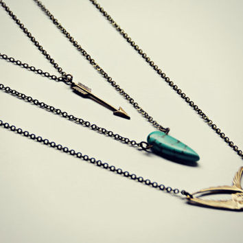 Bird layer necklace, arrow necklace, turquoise necklace, tribal necklace, sparrow necklace